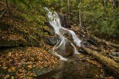 Cascade d'automnes de cavité de rondin Photos libres de droits