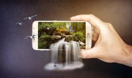 cascade 3d sur le mobile Photo stock