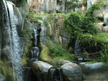 Cascade dans la forêt horizontale Photos stock