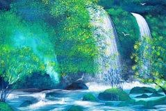 Cascade dans la peinture à l'huile de forêt sur la toile Photographie stock