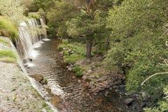 Cascade dans le lac de montagne et le parc vert dans Rascafria Photos libres de droits