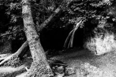 Cascade dans les bois en Pale Umbria, Italie image stock