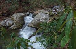 Cascade de cascade au parc d'état de Catawba photo stock