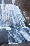 Cascade de glace en quelques automnes de Fukuroda de saison d'hiver Images stock