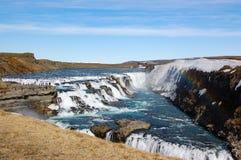 Cascade de Gullfoss, arc-en-ciel, ciel bleu, Islande Photo stock