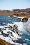 Cascade de Gullfoss, ciel bleu, Islande Images stock