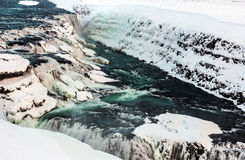 Cascade de Gullfoss dans la neige Photo libre de droits