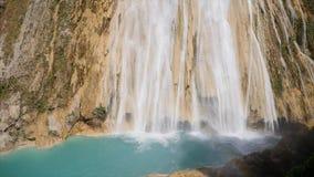 Cascade de Novia瀑布是最大Chiflon瀑布,墨西哥 股票视频