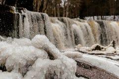 Cascade de rivière de Keila en hiver Photos libres de droits