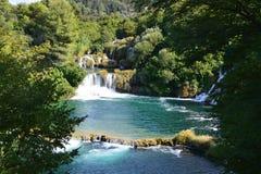 Cascade de rivière de Krka, parc national croate Images libres de droits