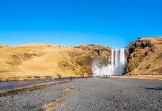 Cascade de Skogafoss dans la saison d'hiver en Islande photos stock