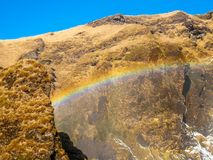 Cascade de Skogafoss dans la saison d'hiver en Islande photo libre de droits