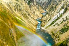 Cascade de Yellowstone de point d'inspiration avec l'arc-en-ciel image stock