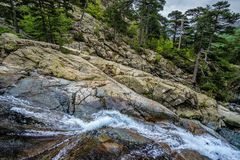 Waterfall detail in the Haute-Corse, Corcica of France Royalty Free Stock Image