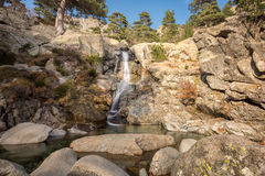Cascade des Anglais waterfall near Vizzavona in Corsica Royalty Free Stock Photography