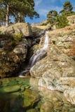 Cascade des Anglais waterfall near Vizzavona in Corsica Royalty Free Stock Photos