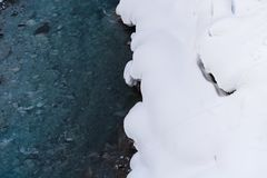 Cascade du ` s d'hiver de Shirahige chez Biei, Hokkaido Photos stock