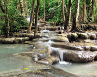 Cascade of Erawan waterfall Royalty Free Stock Photo