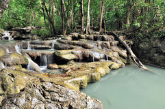 Cascade of Erawan waterfall Stock Photography