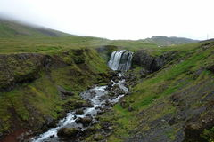 Cascade et courant Islande Images stock