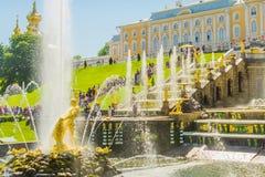 Cascade et Manche grandes de mer dans le palais de Peterhof Peterhof, St Petersburg, Russie Monument d'or des mâchoires violentes images libres de droits
