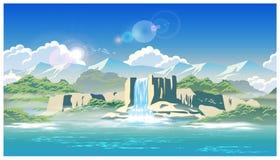 Cascade et montagnes illustration de vecteur