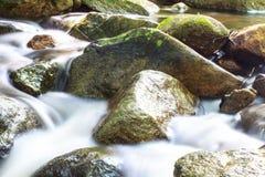 Cascade et roches couvertes de la mousse Images libres de droits