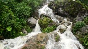 Cascade faisante rage pendant la tempête de pluie - Sapa Vietnam clips vidéos