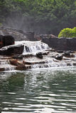Cascade falls and lake. In wood Royalty Free Stock Photos