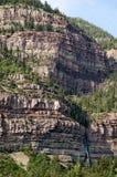 Cascade Falls in Ouray, Colorado. The last of a series of falls tumbles over cliffs in Ouray, a town in Colorado's San Juan Mountains Stock Photos