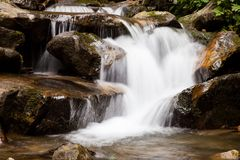 Cascade falls over mountain rocks Royalty Free Stock Photography