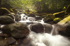 Cascade falls over old plum river with rocks Stock Photo