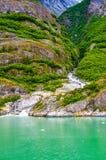 Cascade fonctionnant en bas d'une vallée d'Alaska images libres de droits