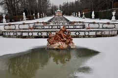 Cascade fountain at La Granja de San Ildefonso Palace, Spain Royalty Free Stock Photos