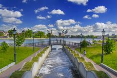 Cascade of fountains, the bridge, and views of Top lake in Kaliningrad Royalty Free Stock Image