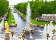Cascade of fountains of Peterhof. The main cascade of fountains of Peterhof, Russia Stock Photo