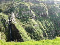 Cascade Garganta Funda of Madeira Island. Cascade Garganta Funda, site west of Madeira Island in the Atlantic Ocean in Portugal. Volcanic Cliffs Stock Photos