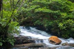 Cascade at Hanging Rock. A Cascade flows through Hanging Rock State Park in North Carolina Stock Photos