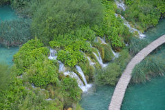 Cascade and Lake. In Plitvice, National Park, Croatia Royalty Free Stock Images