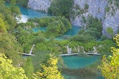 Cascade and Lake. In Plitvice, National Park, Croatia Stock Photos