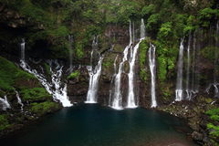 Cascade Langevin. Waterflow in the Reunion island Stock Image