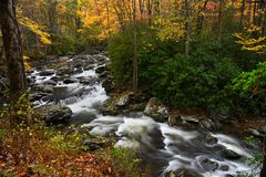 Cascade in Little Pigeon River in the Autumn. Cascades in the middle prong of the Little Pigeon River at Great Smoky Mountains National Park, TN USA royalty free stock photo