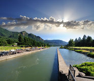 Cascade locks marine park Royalty Free Stock Photo