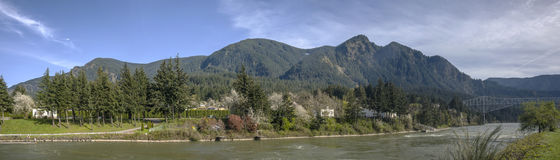 Cascade Locks panorama Oregon state. Stock Photography