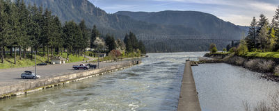 Cascade Locks panorama Oregon state. Royalty Free Stock Image