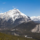 Cascade Mountain and Banff Springs Hotel Stock Photos