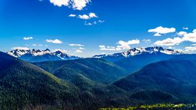 The Cascade Mountain range in BC Canada. Rugged Peaks of the Cascade Mountain Range on the US-Canada border as seen from the Cascade Lookout viewpoint in EC stock photo
