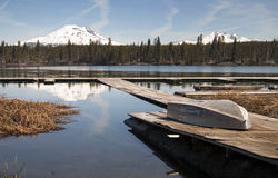 Cascade Mountain Range Rises Above Alpine Lake Oregon State Royalty Free Stock Image
