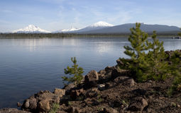 Cascade Mountain Range Rises Above Alpine Lake Oregon State Stock Photography