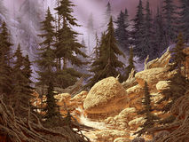 Cascade Mountain Stream. Image from an original painting by Larry Jacobsen. / AF-039 royalty free illustration